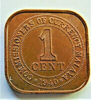 1940 MALAYA,George VI 1 CENT brown grading About UNCIRCULATED.