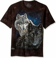 Wolf Star Wolves Pack Hunt Black Moon Night Dog Space T-Shirt Mountain L-5X