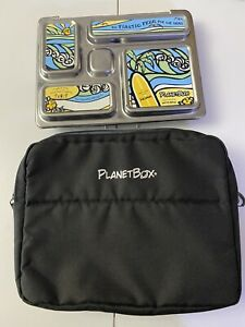 Planetbox Rover 5 Compartment Bento Lunchbox Stainless Steel 3 Sets Magnets Bag