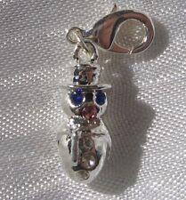 Breloque BONHOMME DE NEIGE, charm mousqueton, en métal argenté, en 3D, *V296