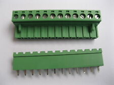 2 pcs Green 12 pin 5.08mm Screw Terminal Block Connector Pluggable Type Straight