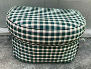 Vintage Ottoman Foot Stool Pouf Green/White Check Upholstered