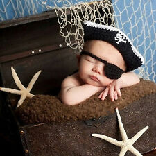 Newborn Baby Pirate Hat Crochet Knit Cap Costume Photo Photography Props Outfits