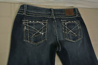 BKE MADISON BOOT Sz. 30 x 33.5 Womens Thick Stitch Blue JEANS Buckle STRETCH