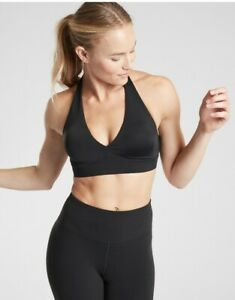 Athleta Yin Yoga Sports Workout Bra Black Size 32, 34, B/C D/DD NWT MSRP $49 NEW