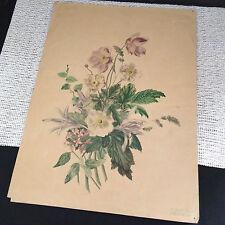 Antique 1881 Original Colored Pencil Sketch Flower Bouquet - Jacobi 12.5 x 17.25