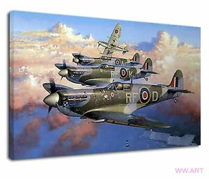 Supermarine Spitfire British Military Raf Painting Canvas Wall Art Picture Print