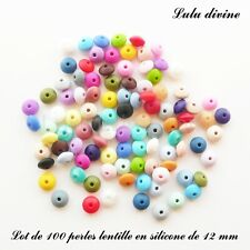 100 Perles lentille en silicone de 12 mm, mix couleur