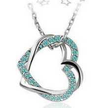 Women's Valentine's Gift Double Heart Crystal Lake blue Pendant Necklace