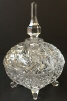 Beautiful Vintage Square Lead Cut Crystal Tall Footed Bowl~Candy Dish~Lid~Finial