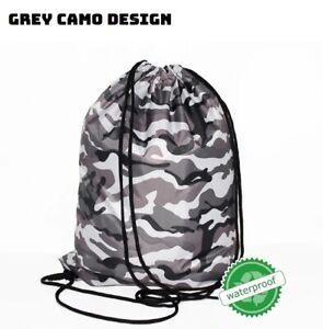 GREY CAMO Bag Draw string Backpack Back pack unisex work travel school US Seller