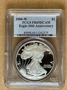 2006-W Proof Silver American Eagle $1 * PCGS PR69 DCAM 20th Anniversary