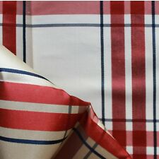 100% Silk check Fabric Curtains, Cushions, Costumes 140cm Wide Red Cream