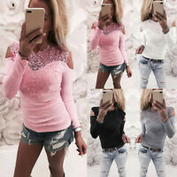 Women Lace Sexy V-neck Long Sleeve Ladies T-Shirt Top Stretch Casual Blouse Tops
