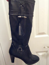 """Womens-Size-8.5-Boots-Black-Faux-Leather-Knee-High-3""""-Heel-Etienne-Aigner-Karma"""