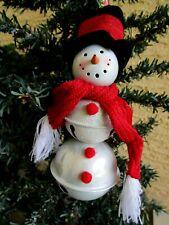 Metal Jingle Bells Snowman Red Scarf&Black Top Hat Belk Dept Store Xmas Ornament