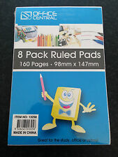 Brand New Sealed 8 Pack Ruled Writing Pads 160 Pages 98mm x 147mm School/Office