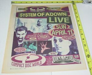 System of A Down Concert AD Advert 1999 Tour Menlo Park in Store Heavy NU Metal