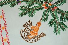 Erzebirge Christmas Ornaments! Vtg German Hand Embroidered Tablecloth Pearlized