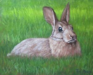 Artist's Original Oil Painting-Rabbit