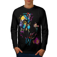 Wellcoda Marley Bob Colorful Mens Long Sleeve T-shirt, Rasta Graphic Design