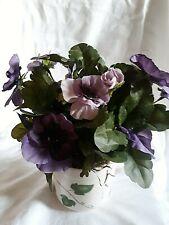 F01  Silk Flower Arranement - Purple/Lavender Pansies in a Ivy Vine Ceramic Vase