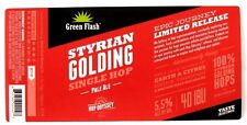 Green Flash Brewing STYRIAN GOLDING - PALE ALE beer label CA 12oz Ltd. Rel.