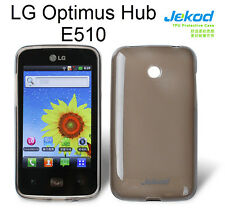 Jekod black TPU gel silicone case cover+screen protector for LG Optimus Hub E510