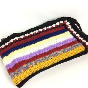 Hand Knitted Afghan Throw Blanket Striped Granny Black Gold Purple Blue Red Vtg