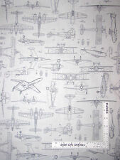 Aviator Airplane Plane Aircraft Drawings Gray Cotton Fabric QT #24755 - Yard