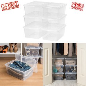 6 Pack 17 QT Plastic Sweater Storage Box with Lid, Clear, Stackable Containers