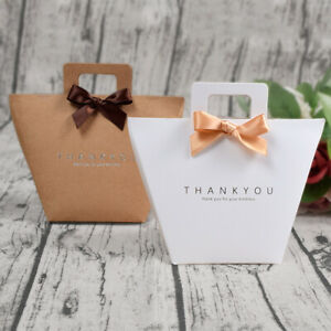 10-500X Thank You White Brown Party Paper Wedding Favour Gift Sweets Boxes Bags