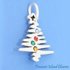 CHRISTMAS TREE 925 Sterling Silver Charm w/ SWAROVSKI CRYSTAL ORNAMENTS CRYSTALS