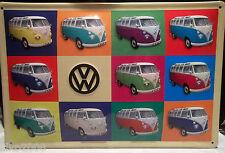 VW KOMBI BUS CAMPER: EMBOSSED METAL (STEEL) ADVERTISING SIGN 30X20cm, VOLKSWAGEN