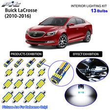 13 Bulbs LED Interior Dome Light Kit Cool White For Buick LaCrosse 2010-2016