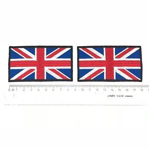 2 x UK Union Jack Flag Embroidered Patch Emblem Heat Iron Sew On