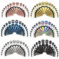 36pcs Ear Tapers Stretching Plug Gauges Kit and Stainless Steel Tunnels 14G-00G