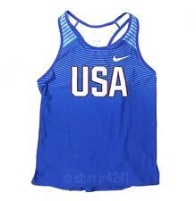 New Nike Women's M Team USA Digital Race Day Tight Tank Blue 835981 $55