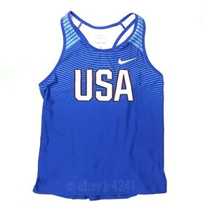 Nike Women's M Team USA Digital Race Day Tight Tank Track and Field Blue 835981