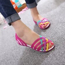 Chic Womens Beach Flats Plastic Shoes Summer Fashion Jelly Sandals Waterproof Sz