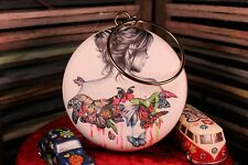 Woman and Butterflies Handbag Purse with Running Colors Round Retro Style