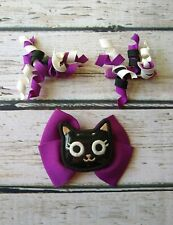 Gymboree Purrfectly Fabulous black kitty cat barrette on purple bow with curlies