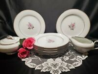 Noritake China Roanne #5794 Salad / Snack Plates Sugar & Creamer - 9 Pieces