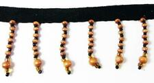 """Beaded Fringes Natural Wooden & Black Glass Beads Twill Tape Dance Lamp-1 Yd 6"""""""