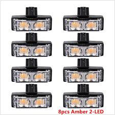 8X 2-LED Flash Emergency Hazard Warning Strobe Light Bar Car Grille Bright Amber