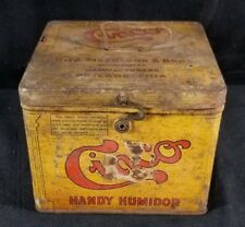 Vintage Handy Humidor Cinco Cigar Tin w Hinged Lid Otto Eisenlohr & Bros PA GOOD