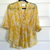 ANTHROPOLOGIE Maeve Womens Yellow Floral Pin Tuck Roll Tab Sleeves Top Sz 0