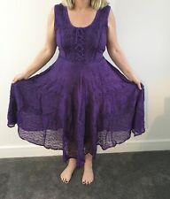 Corsé Gótico Medieval Bordado púrpura Boho Vestido Bruja Bruja UK 14 16 18