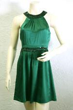 $318 BCBG EMERALD (IKB6B760) BEADED SILK CHARMEUSE DRESS NWT 10