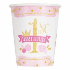 Pink Gold 8 X 9oz Paper Cups 1st Birthday Unique Party Decorations Celebration